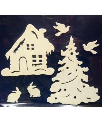 """Новогодняя наклейка на окно """"Домик"""""""
