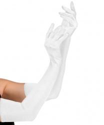 Сатиновые перчатки, белые (60 см)