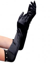 Черные перчатки со стразами (детские)