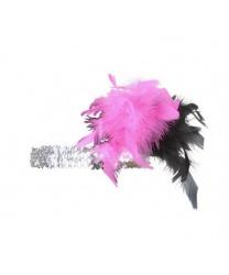 "Серебряная повязка на голову с розовыми перьями ""Чарльстон"""