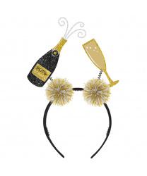 Ободок на голову с шампанским и бокалом