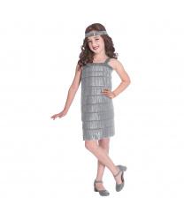 Детское платье Флеппер серебряное