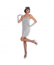 Женское платье Флеппер серебряное