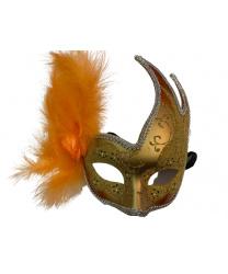Карнавальная маска ассиметричная с оранжевыми перьями