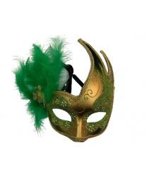 Карнавальная маска ассиметричная с зелеными перьями