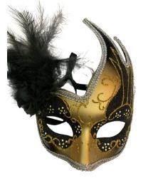 Карнавальная маска ассиметричная с черными перьями