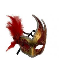 Карнавальная маска ассиметричная с красными перьями
