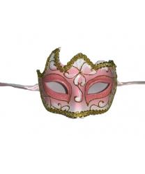 Светло-розовая маска с золотой тесьмой