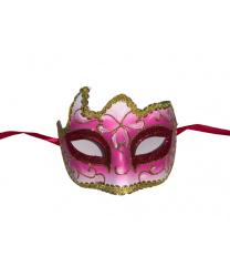 Малиновая маска с золотой тесьмой
