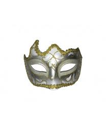 Ассиметричная белая маска с золотым узором