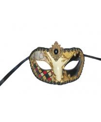 Венецианская маска с аппликацией и черной тесьмой