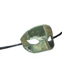 Велюровая зеленая маска с золотыми вставками