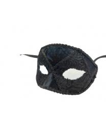 Велюровая черная венецианская маска