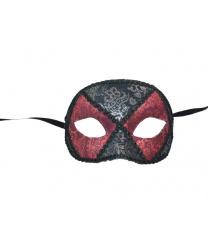 Черная венецианская маска с бордовыми вставками