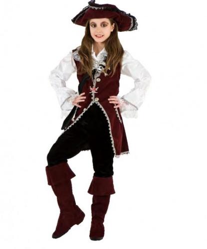 Костюм девочки пиратки: бриджи, жилетка, накладки на обувь, рубашка, шляпа (Италия)