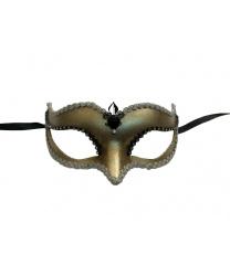 Венецианская маска Volpina, золотая с тесьмой