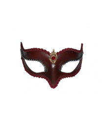Венецианская маска Volpina, бордовая с тесьмой