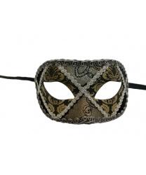 Венецианская маска с тесьмой, светло-золотая