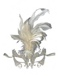 Маска металлическая белая с перьями