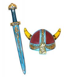 Шлем и синий меч викинга