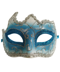 Голубая маска с серебряной тесьмой