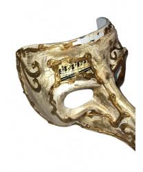 Венецианская маска с носом «Barocco» светлая