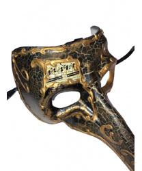 Венецианская маска с носом «Barocco» темная
