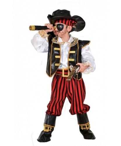 Костюм Пират карибского моря: бандана, жилетка, накладки на обувь, пояс, рубашка, шляпа, штаны (Италия)