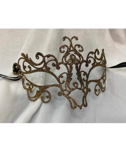 Венецианская маска золотая Bocciolo, металл, стразы (Италия)