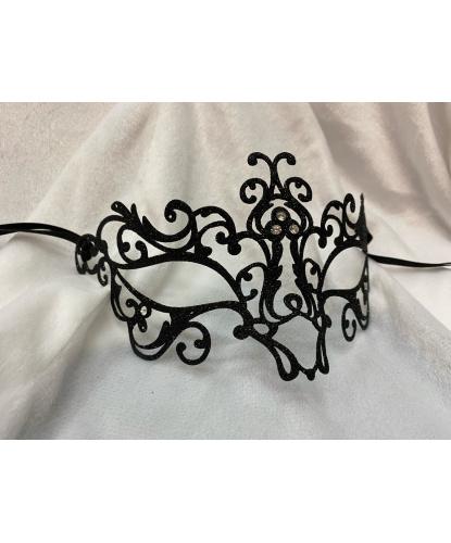 Венецианская маска черная с глиттером Bocciolo, металл, стразы (Италия)