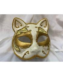 """Венецианская маска """"Кот"""", белая с позолотой"""