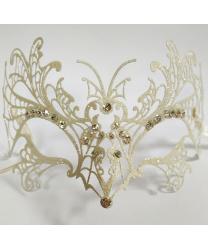 Белая с блестками венецианская маска Farfalla