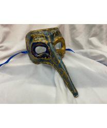 Венецианская маска с носом «Barocco» синяя