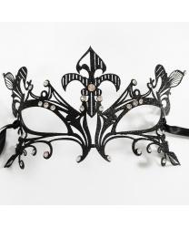 Венецианская маска из металла с черными блестками