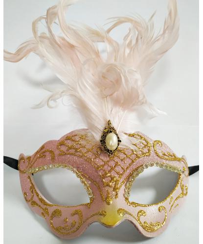 Розовая маска Colombina Ciuffo, перья, папье-маше (Италия)