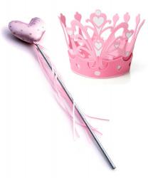 Розовая палочка и корона в сердечках