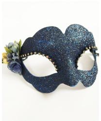 Синяя венецианская маска с цветком Fiore