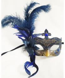 Синяя венецианская маска с перьями