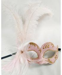 Розовая венецианская маска с золотым узором