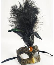 Венецианская маска с перьями, черная с золотым