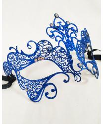Венецианская ярко-синяя маска с блестками Giglio