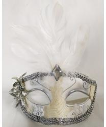 Маска серебристо-белая с перьями