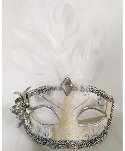 Маска серебристо-белая с перьями, перья, пластик, стразы, кружево, тесьма (Германия)