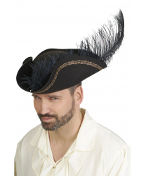 Пиратская треуголка черная с пером