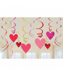 Набор гирлянд на День святого Валентина (сердечки+спирали)