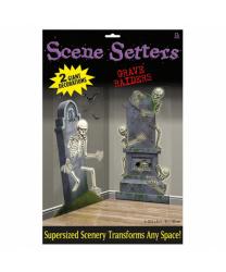 "Баннеры на Хэллоуин ""Надгробья со скелетами"""