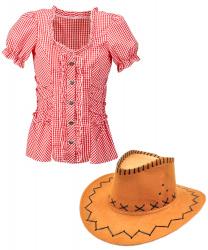 Женский набор ковбоя (красно-белая рубашка и шляпа)