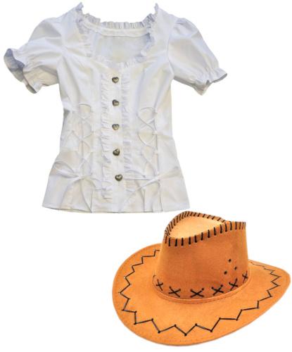 Женский набор ковбоя (белая рубашка и шляпа): рубашка, шляпа (Германия)