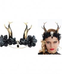 Черный готический головной убор с рогами