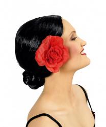 Парик испанской танцовщицы (черный с цветком)